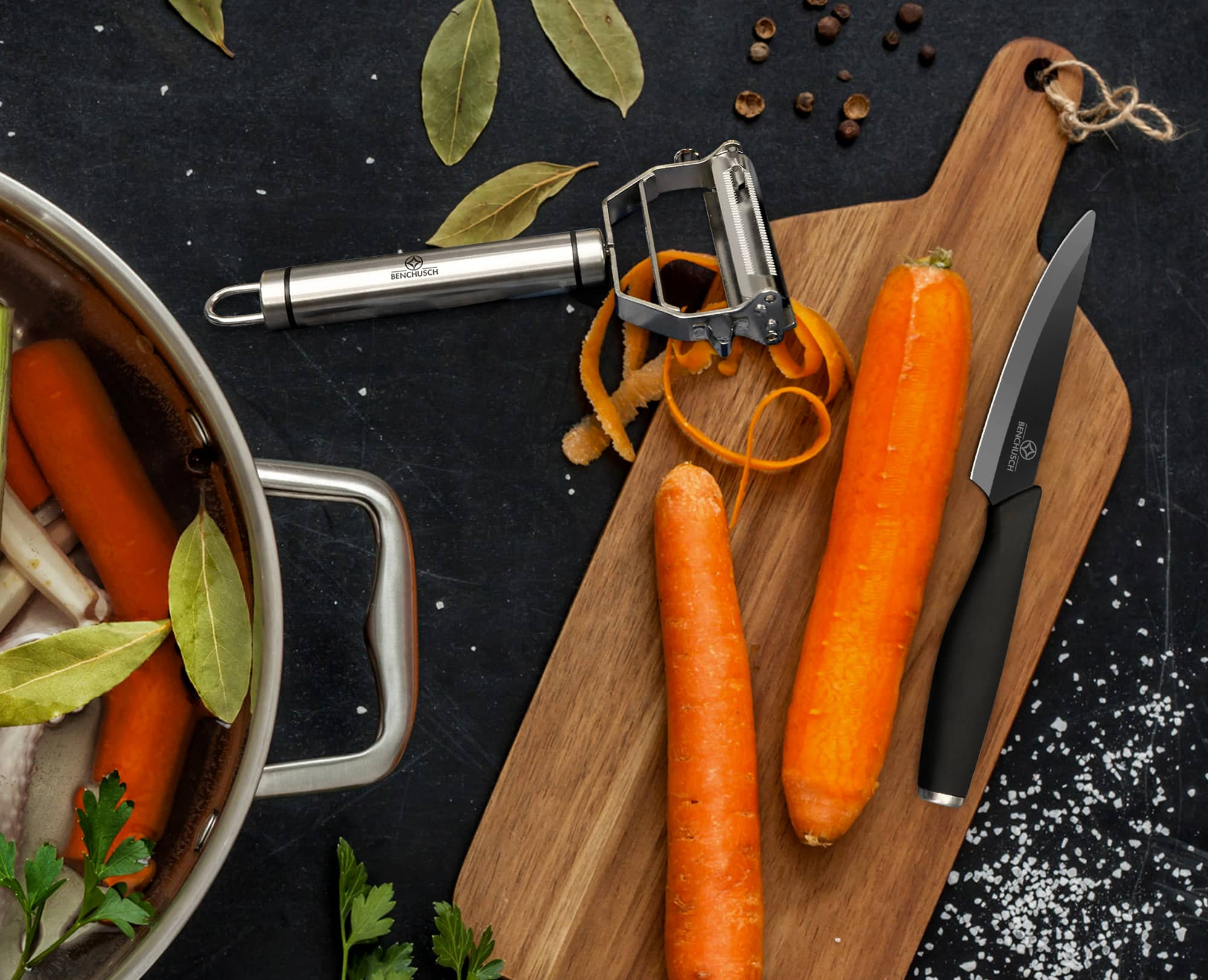Peeling Carrot with Benchusch Zirconia Series Vegetable Peeler & Ceramic Paring Knife on the wooden chopping board