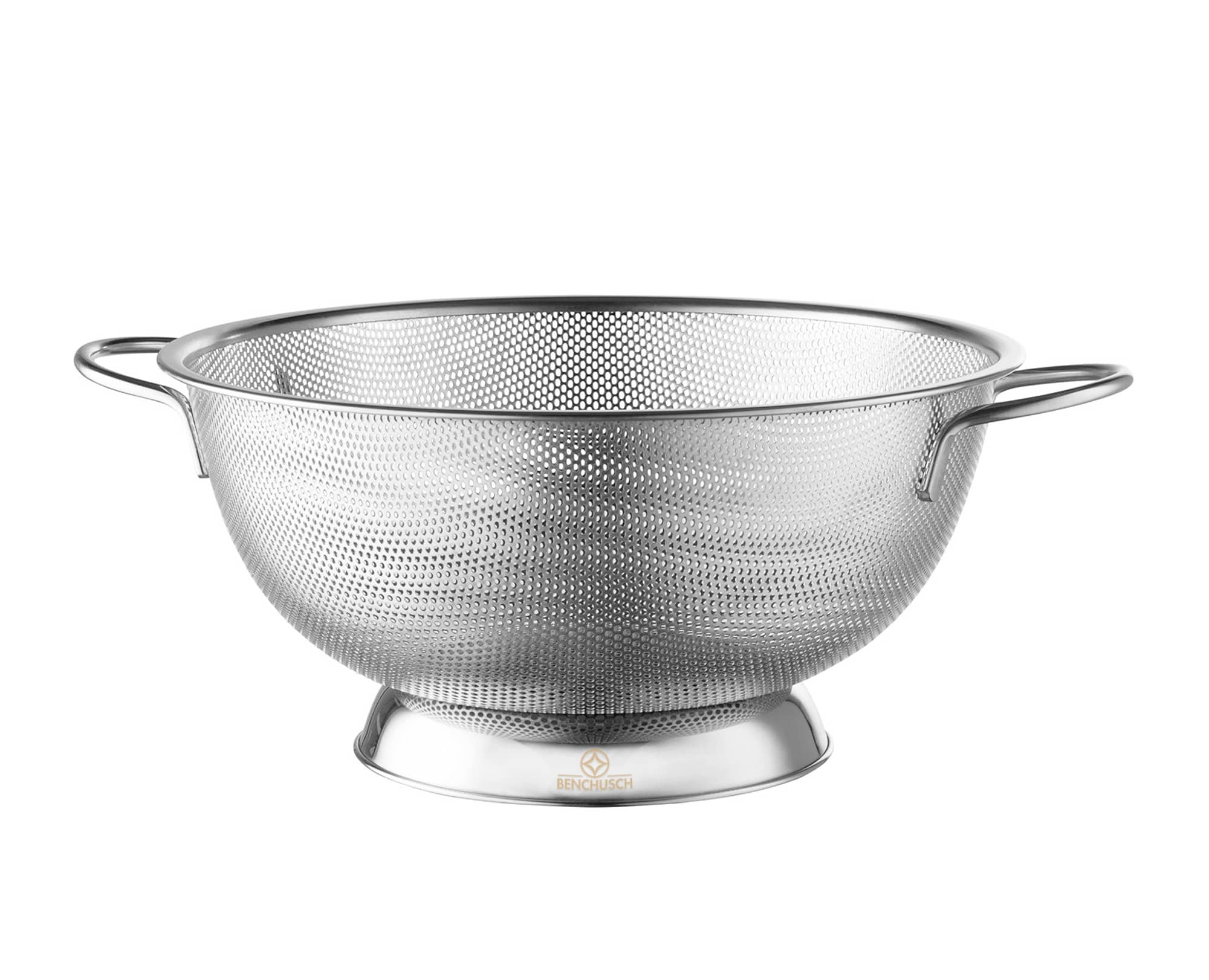 Benchusch Premium Stainless Steel Colander (5 Quart) with Riveted Handles, and precision 1.4mm drainage holes