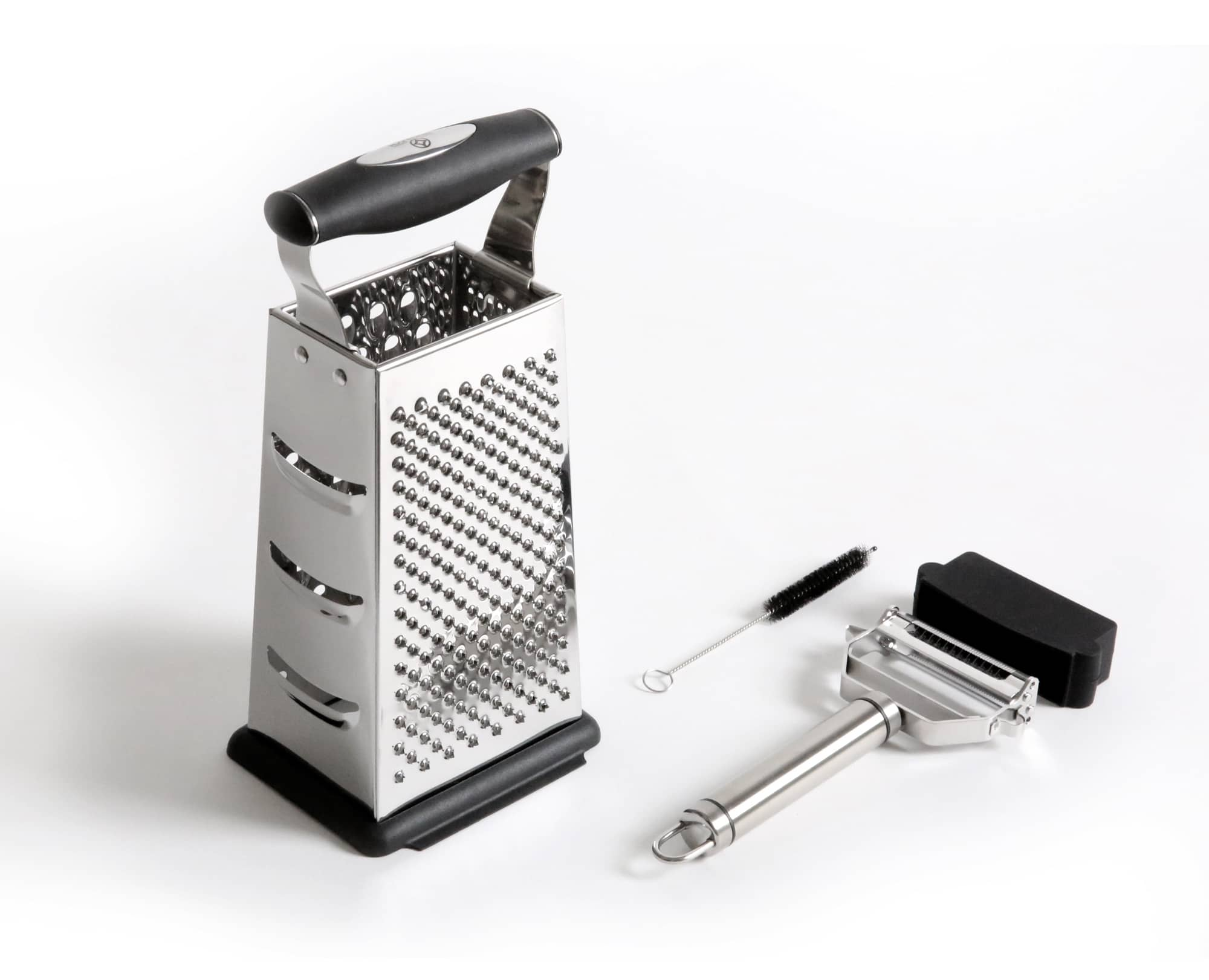 Benchusch 4 Sided Grater Box & Peeler Set, black color with stainless steel blade, Non-Slip Base and Ergonomic Handle