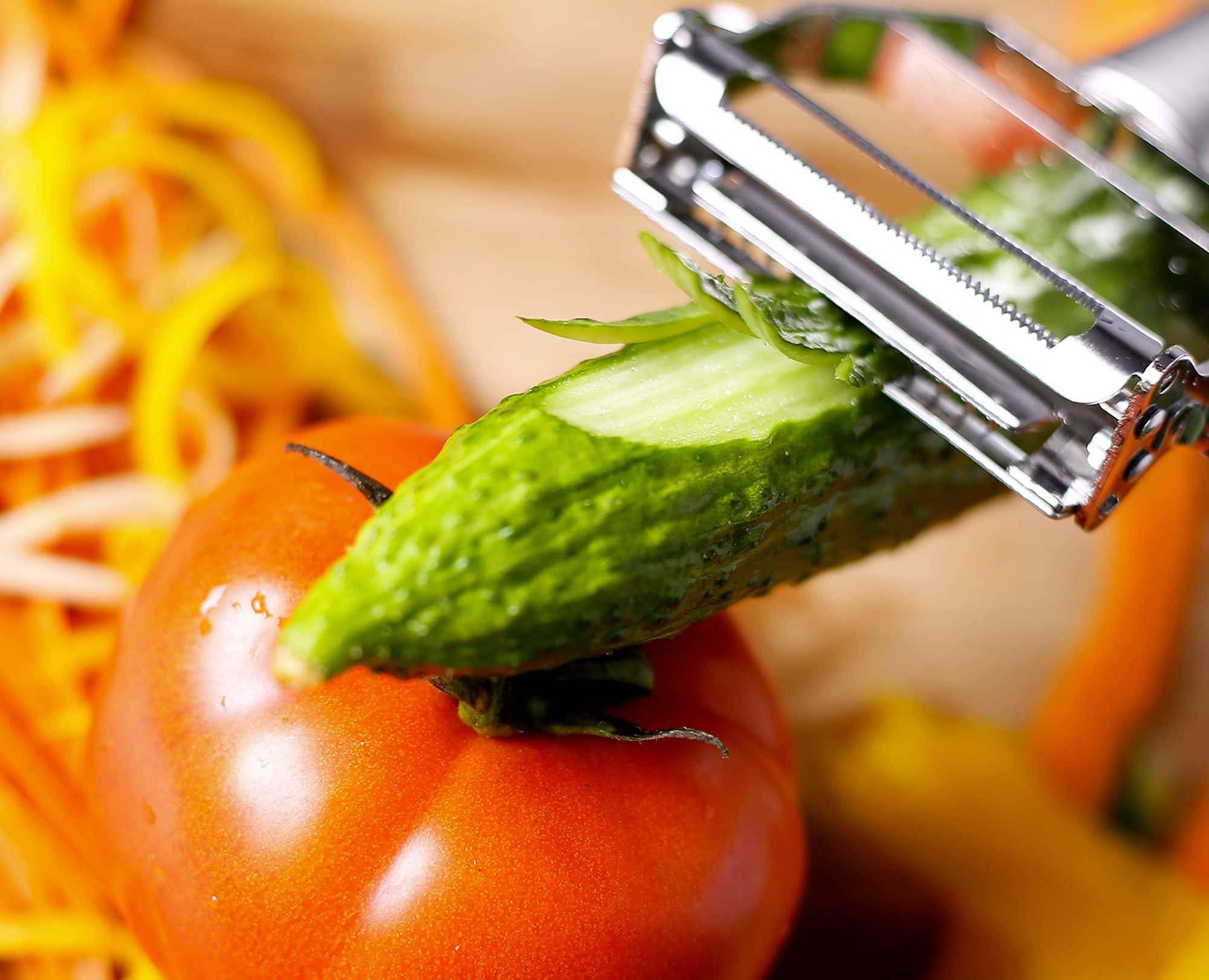 Using Benchusch double blade peeler to julienne cucumber