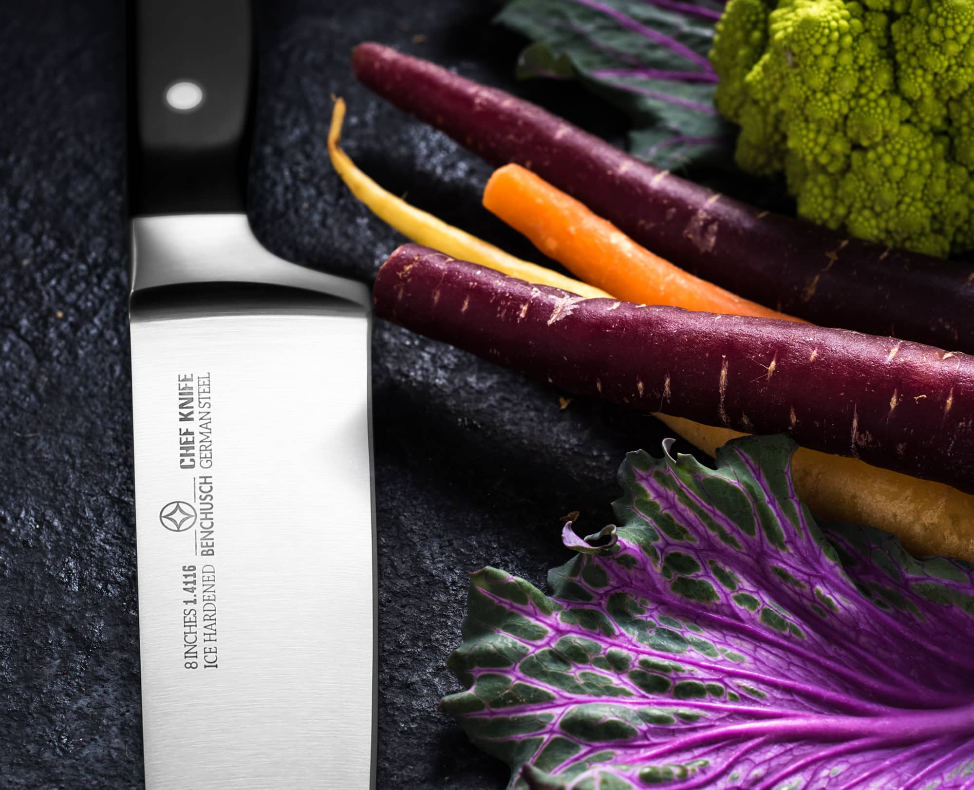 Benchusch Professional 8-Inch Chef Knife with vegetbles on the dark background