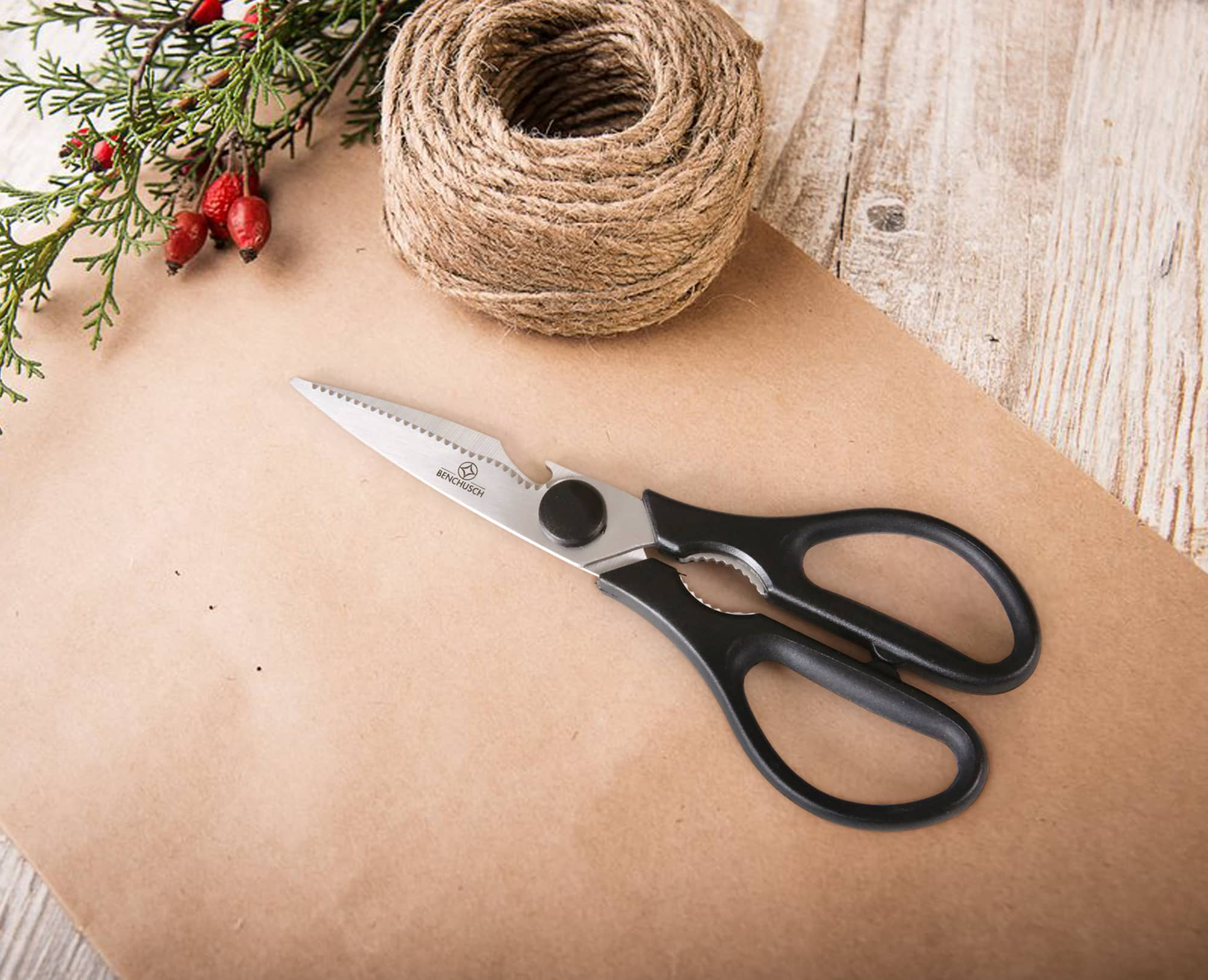Benchusch Classic 8-Inch Scissors with paper, rope on the christmas background