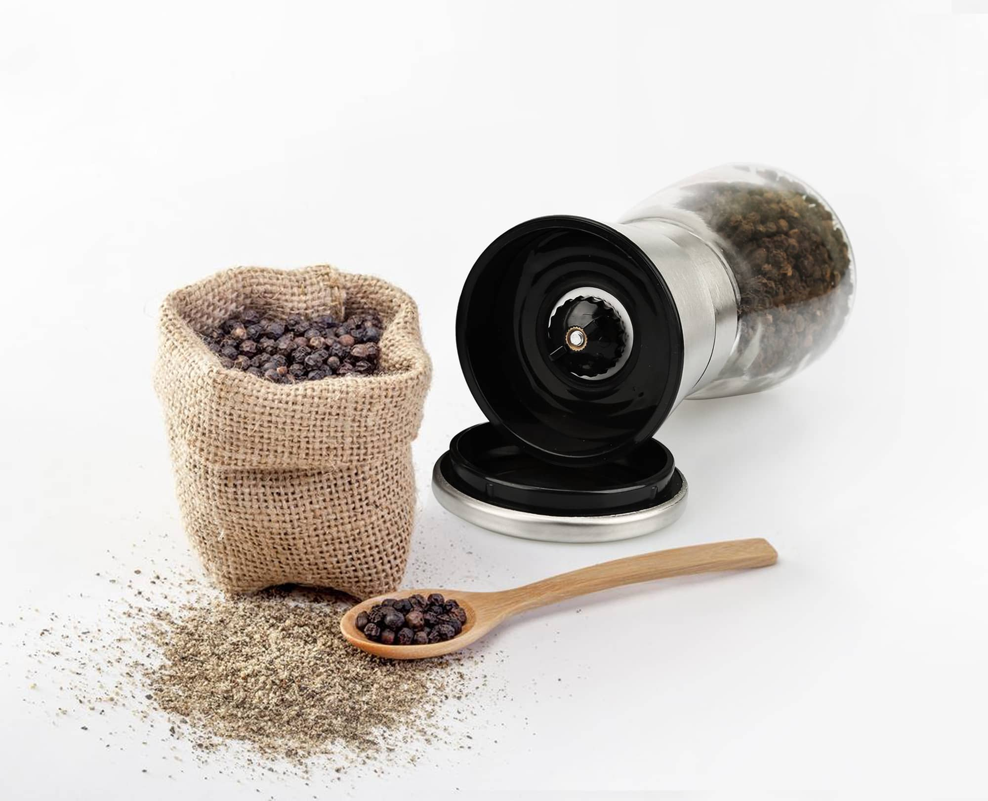 Benchusch Pepper Mill and The Black Pepper Pouch