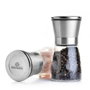 Benchusch Salt and Pepper Mills Set with Glass Body and Stainless Steel Cover