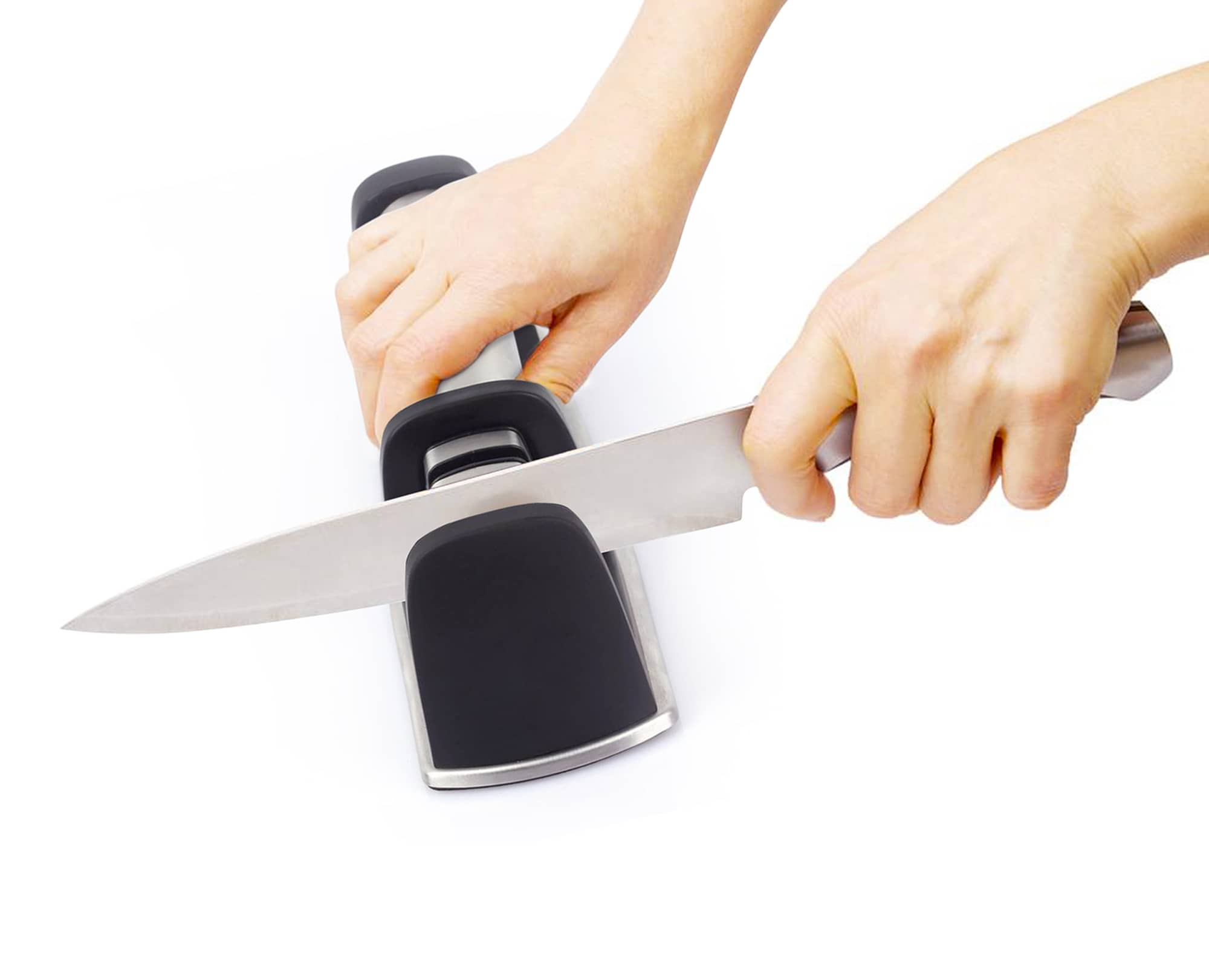 A Woman sharp the knife with Benchusch Two-Stage Knife Sharpener